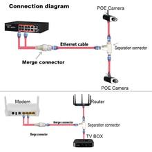 Poeカメラ簡体配線コネクタ、スプリッタ、2 · イン · 1ネットワークケーブルコネクタ、三方RJ45ヘッドセキュリティカメラインストール
