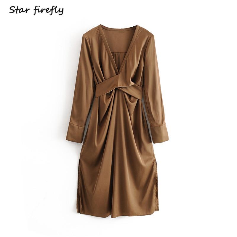 Star Firefly Fashionable Za Dress Female 2020 Spring Elegant Sweet Bow Decoration Silk Satin V-neck Texture Dress Women