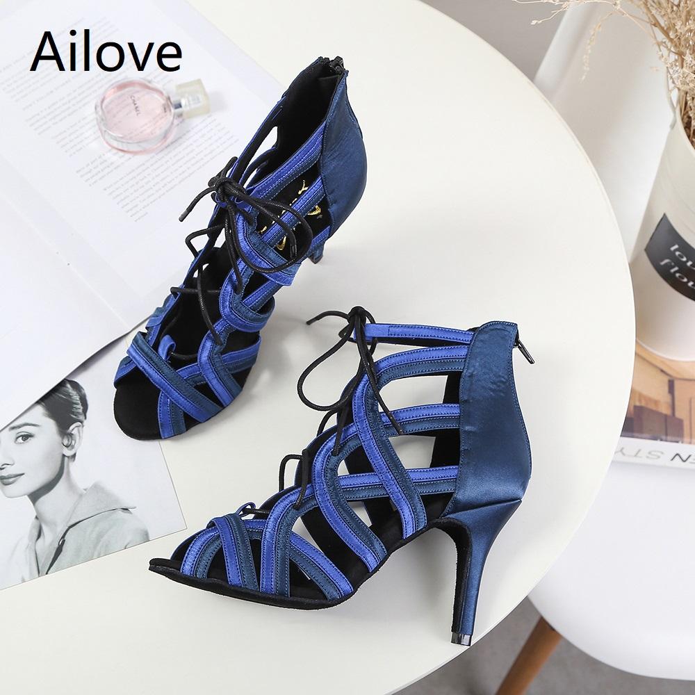 Women Ballroom Latin Dance Boots Lady`s Salsa Professional Dancing Shoes Lace up Social Danc Sandals Multiple Heel Height S014