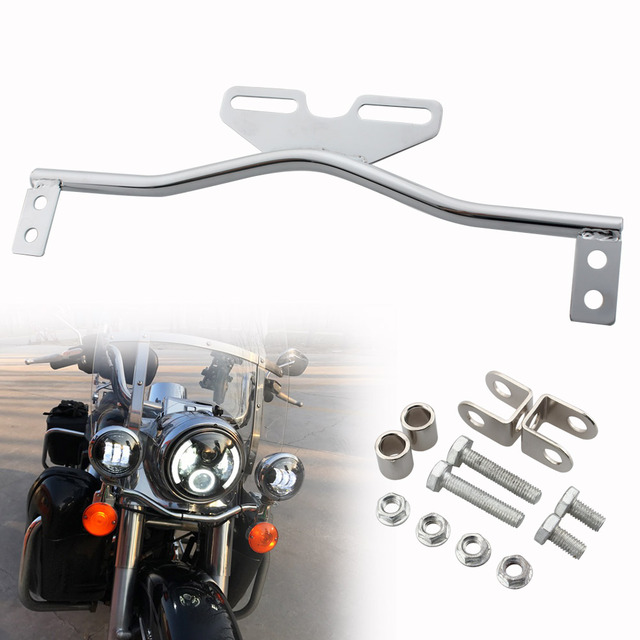 Chrome Motorcycle Light Bracket Bar Driving Spot Fog Passing Turn Signal Light For Dyna Glide Road King Cruiser Cafe Racer