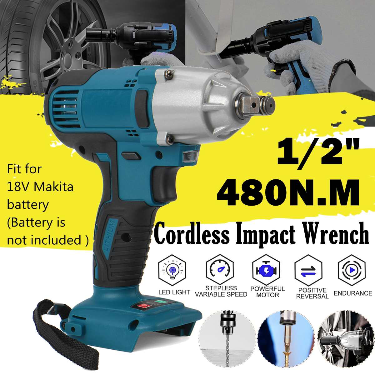 18V 1 2   Impact Wrench Brushless Cordless Electric Wrench Power Tool 480N m Torque Rechargeable For Makita Battery DTW285Z