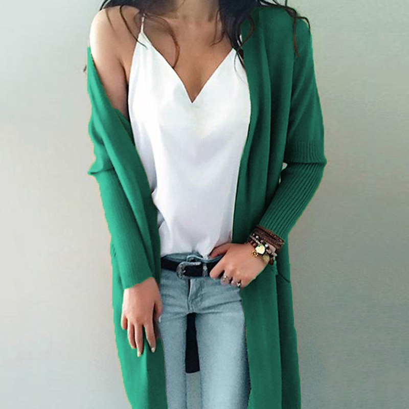 2019 New Fashion Cardigans Female Casual Long Knitted Spring Autumn Women Loose Solid Color Pocket Design Sweater Outwear Tops