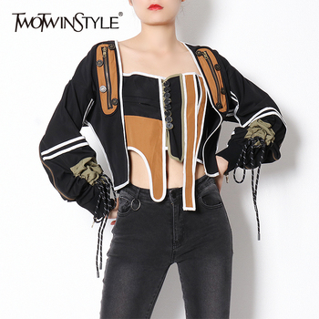 TWOTWINSTYLE Patchwork Hit Color Casual Coat For Women Square Collar Long Sleeve Lace Up Bowknot Streetwear Jacket Female 2020 twotwinstyle elegant denim striped women coats square collar puff long sleeve lace up irregulae hem slim jackets female fashion