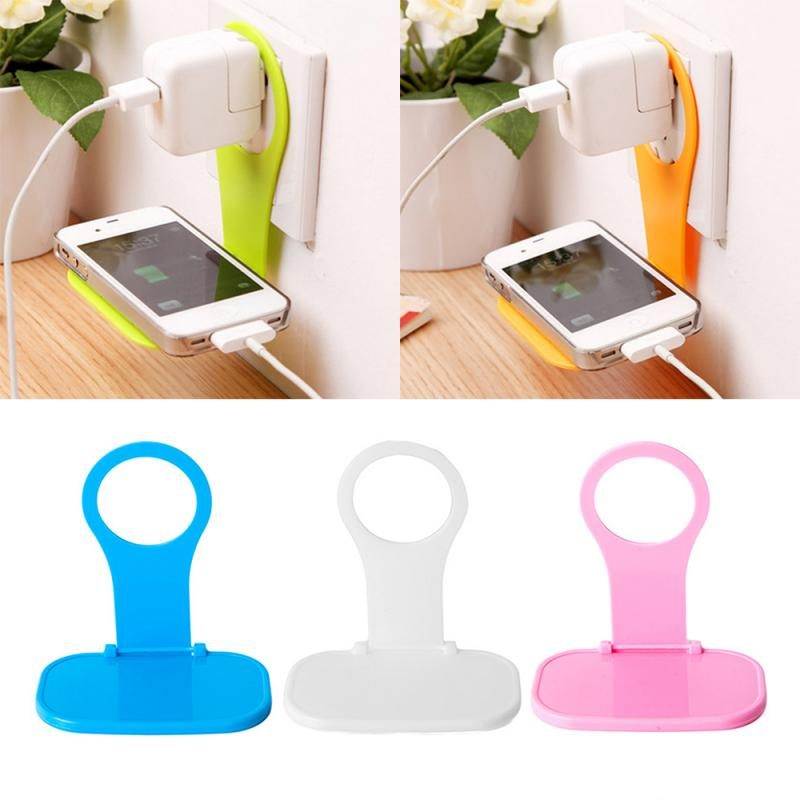 New Mobile Wall Hanger Plug  Charging Rack Phone Charger Adapter Cable Tidy Foldable Universal Load Holder Shelf Random Color