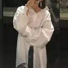 CHIC Hong Kong Flavor Mid length Simple Versatile Fold down Collar Loose Fit Lantern Sleeve White Shirt Women Long Sleeve Autumn