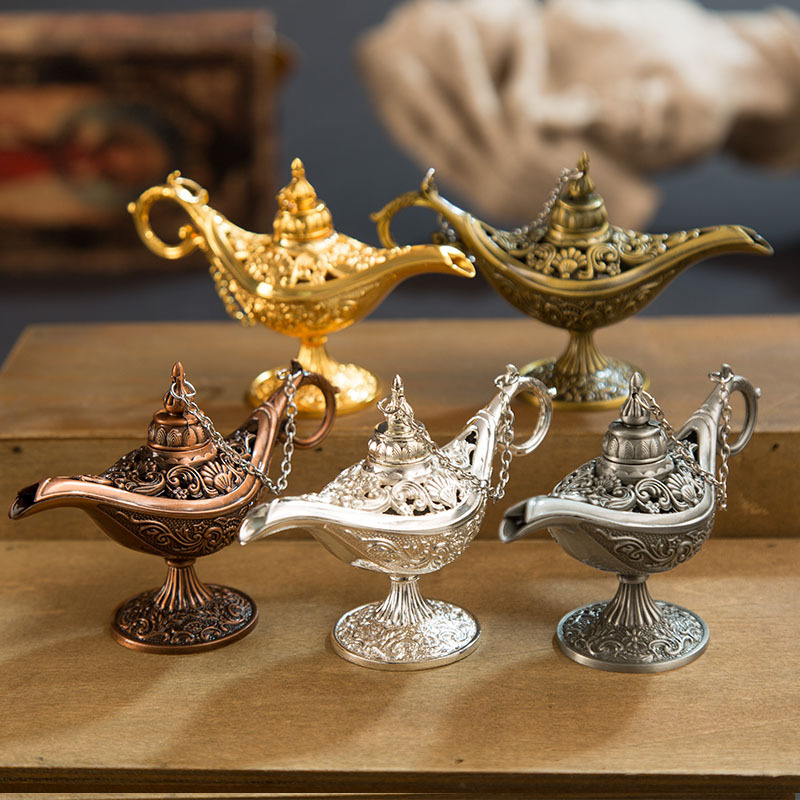 1PCs Traditional Hollow Out Fairy Tale Magic Lamp Wishing Tea Pot Metal Genie Lamp Vintage Retro Toy For Home Decor Ornaments