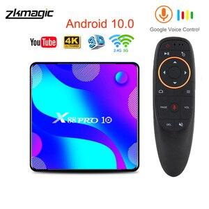 Image 1 - X88 프로 10 안드로이드 10.0 TV 박스 4 기가 바이트 32 기가 바이트 64 기가 바이트 128 기가 바이트 Rockchip RK3318 4K 스마트 TV 박스 지원 구글 스토어 유튜브 셋톱 박스