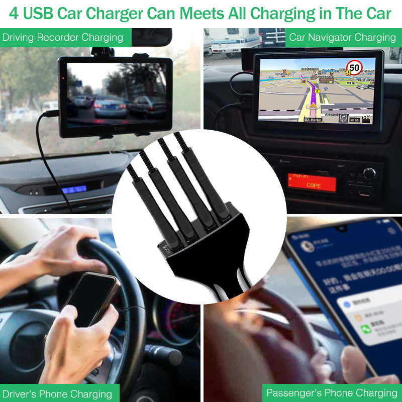 USB Car Charger Quick Charge 3.0 Car-Charger YKZ 4 Ports QC3.0 Fast Charging Car Phone Charger for Samsung Xiaomi iPhone Huawei