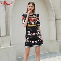 Designer 2020 Fashion Runway Summer Dress Women Short sleeve floral Print Vintage Crystal Beads Black Dress Ladies Mini Dress