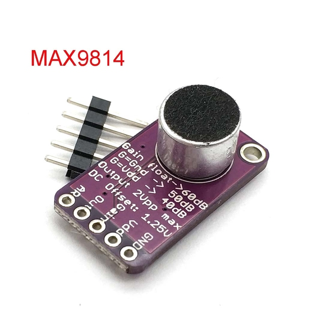MAX9814 Microphone AGC Amplifier Board Module Auto Gain Control For Uno Programmable Attack And Release Ratio Low THD