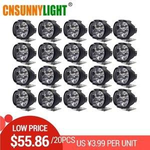Светодиодный светильник CNSUNNY для автомобиля, 20 шт., 8 Вт, 1000 лм, для мотоцикла, велосипеда, ДХО, точечный светильник, для скутера, белый, внешний