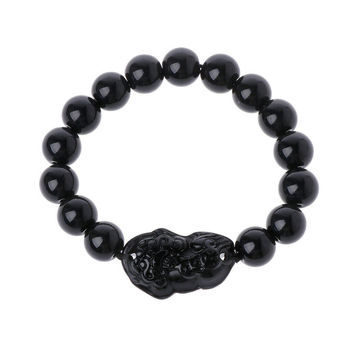 Unisex Obsidian Stone Beads Bracelets Pi Xiu Wristband Wealth and Good Luck Chain Women Men Religious Strand Bracelets 3