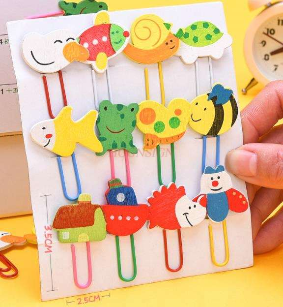 Paper Clip Bookmark Creative Cute Metal Paper Clip Color Paper Clip Candy Color Shaped Baby Safety Pin Cartoon Metal Bookmark