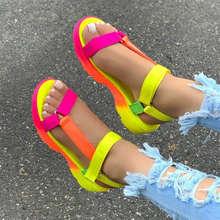 Летние сандалии женская обувь мягкие разноцветные пляжные туфли