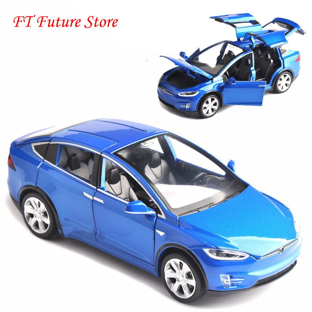 - Collectible Red/Black/White/Blue Color 1/32 Tesla MODEL X 90 Car