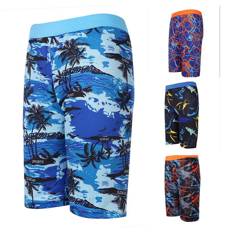 Swimming Trunks Multi-color Men Plus-sized Boxer Swimming Trunks Swimwear Factory Currently Available Men's Hot Springs Four Cor