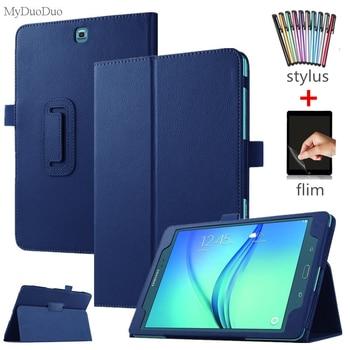 "Etui na Tablet do Samsung Galaxy Tab A T550 T555 SM-T550 9.7 ""odwróć stojak PU skóra Smart Cover Case Protector Shell + Film + rysik"
