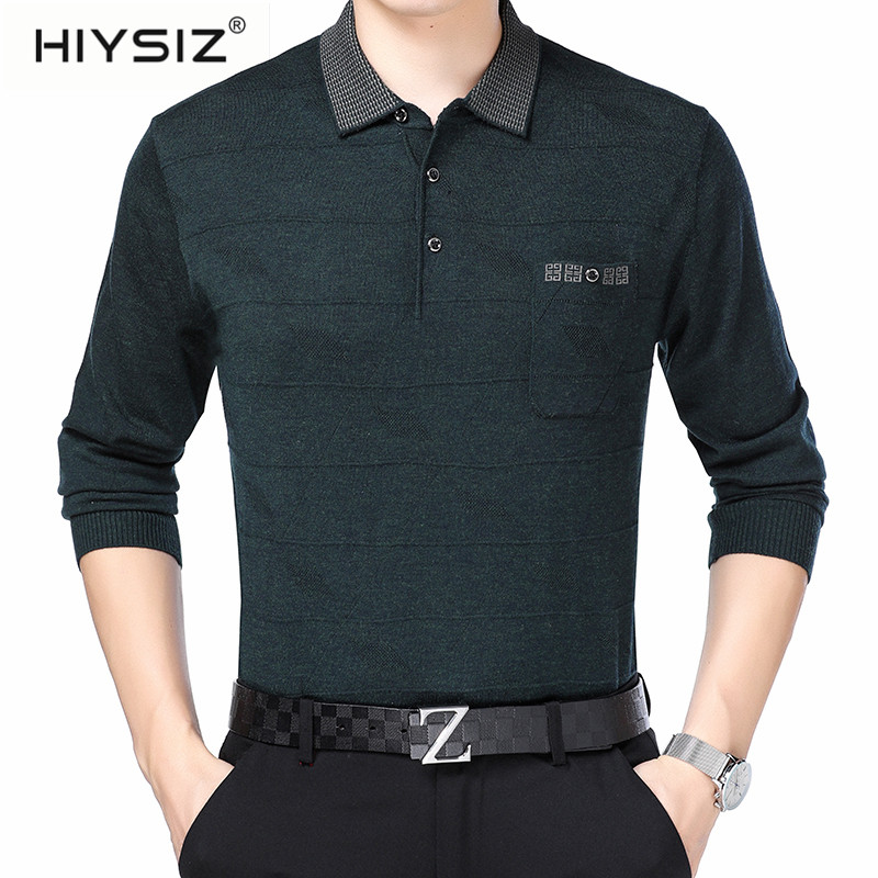 HIYSIZ Sweaters Men 2019 Brand Solid Striped with Pocket Fashion Trend Turn down Collar Autumn Winter Long Pullover Men SW012 in Pullovers from Men 39 s Clothing