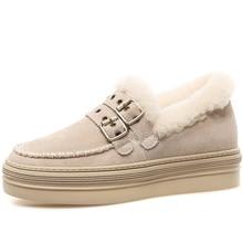 Damskie botki krowa zamszowa wełna ciepłe, jesienne buty zimowe klamra Slip-on buty śnieżne dla kobiet codzienne dorywczo grube dno