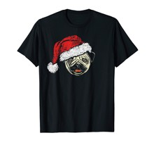 Funny Cute Smiling Pug in Santa Claus Hat Christmas Graphic T-Shirt-Men's T-Shirt-Black(China)