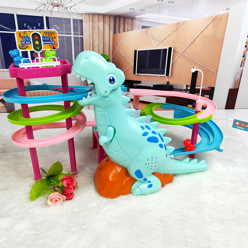 Brand New Electric Slide Railcar Track toy 3-6 years old Dinosaur climb stairs music light play interactive educational toys 1