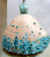 מצוין פרחי Appliqued שתי חתיכות תחרה אפליקציות ואגלי Backhole כדור שמלת בנות מתוקות 16 כדור שמלות Quinceanera שמלות