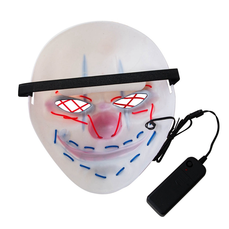 Led Mask Halloween Party Masque Masquerade Big Mouth Clown Masks Light Horror Glowing Dress Up for Festive Party in Party Masks from Home Garden