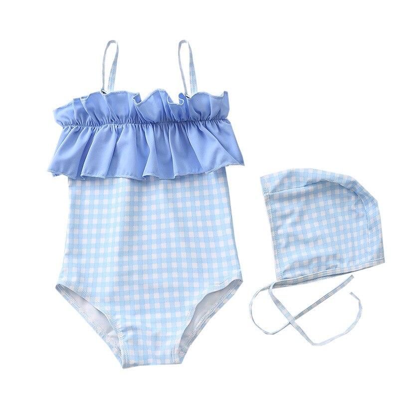 2019 New Style One-piece Swimsuit For Children GIRL'S Baby Girls Princess One-piece Plaid Swimwear Infant Girls Swimwear