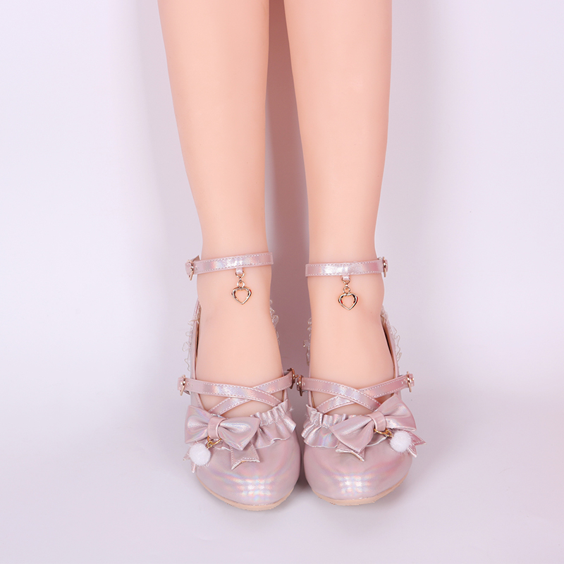 Sweet princess lolita shoes vintage round head cross strap women shoes cute lace ruffle bowknot kawaii shoes loli cosplay