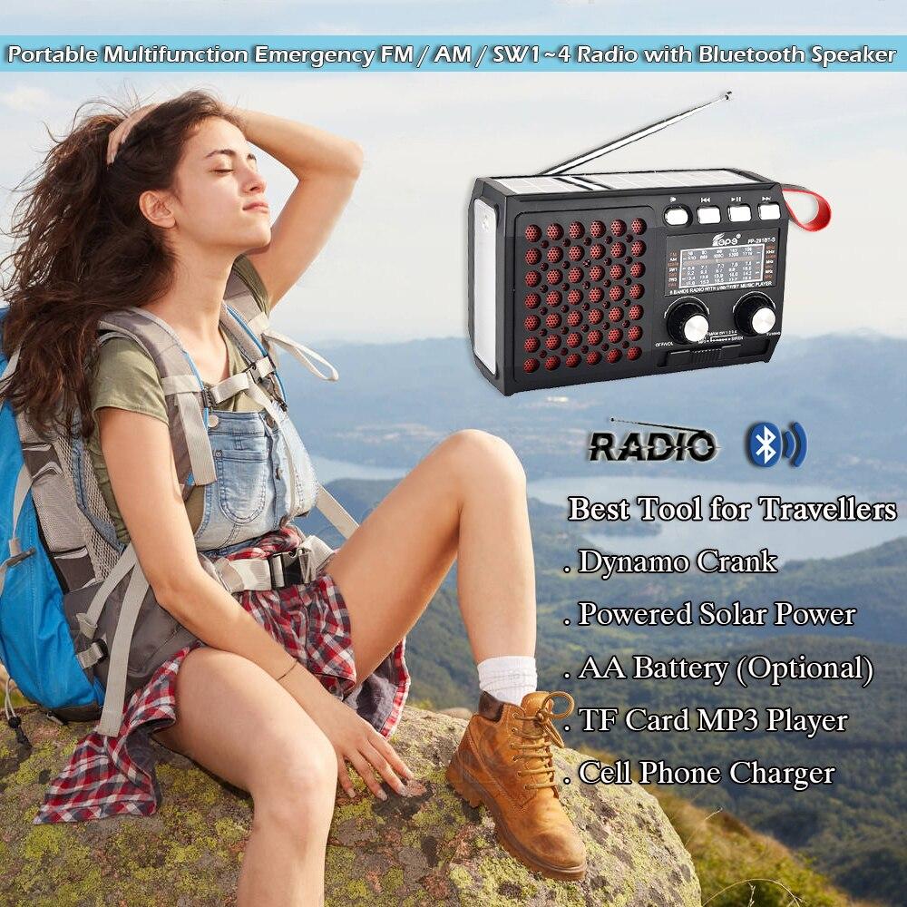 Draagbare Emergency Radio Am/Fm/SW1 ~ 4 Met Bluetooth Speaker Solar Hand Crank Tf Card Usb Disk MP3 Speler 4-In-1 Batterij Operated 2