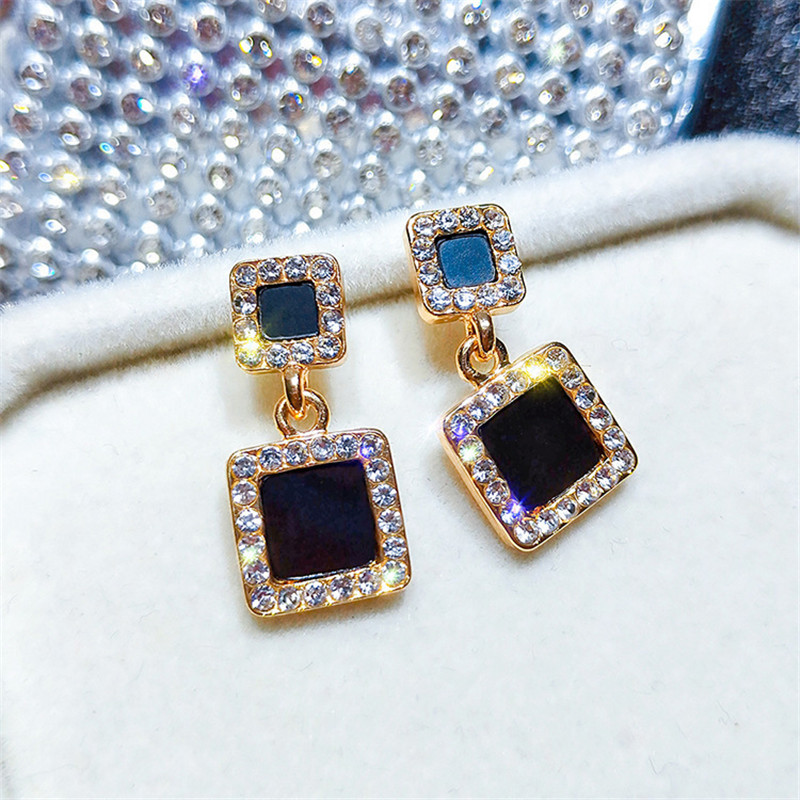 Korea Rhinestone Geometric Drop Earrings For Women Trendy Charm Crystal Dangle Earring Fashion Female Jewelry Accessories 2019 in Drop Earrings from Jewelry Accessories