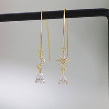 Korean personality asymmetric stars moon drop-shaped zircon earhook  crystal bohemian african earrings