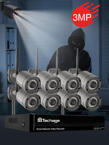 8CH 3MP HD Wireless Security Surveillance Camera System Color Night IP Camera Two Way