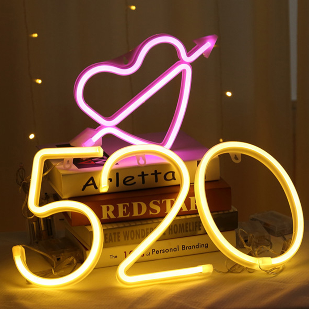 Night Light Neon Strip Alphabet Lamp 26 Letters Number For Birthday Wedding Party Bedroom Wall Hanging Decor Light Night