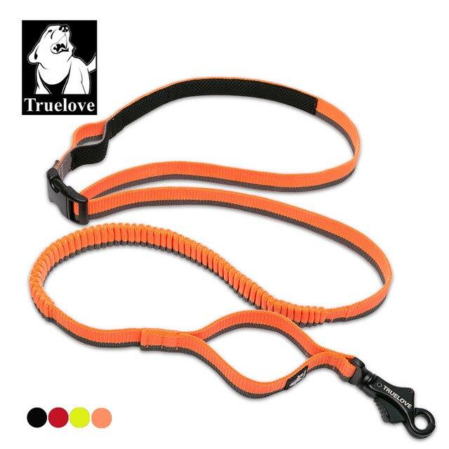 Truelove Dog Running Bungee Leash Hand held Waistworn Adjustable Nylon Elastic Retractable Dog Leads for Running Jogging Walking