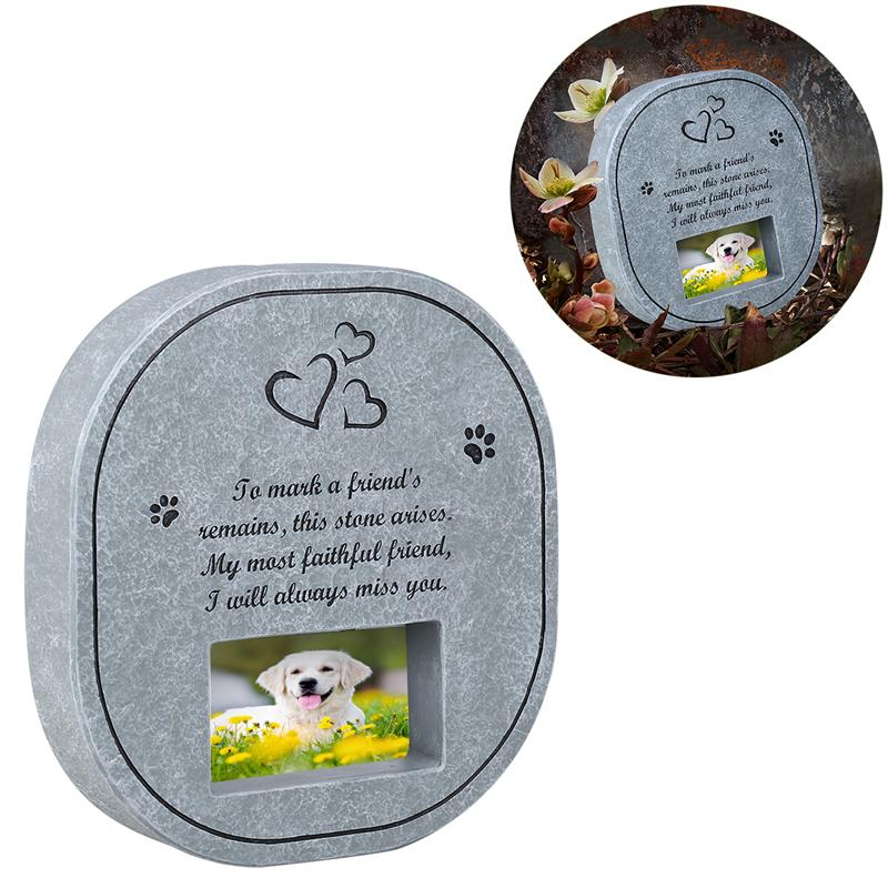 UEETEK Pet Memorial Stone With Photo Frame Paw Print Grave Pet Monument Tombstone For Dogs Cats