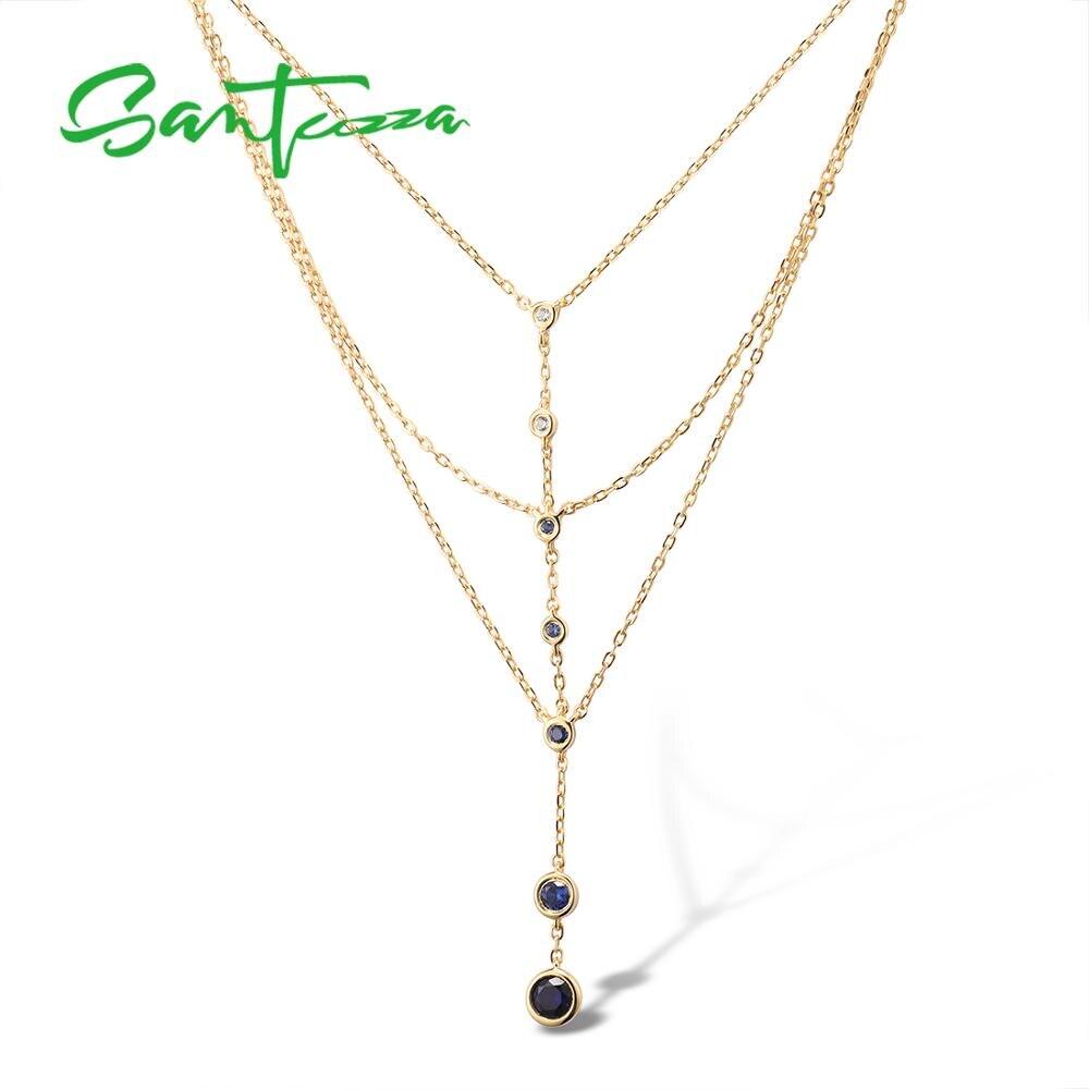 Santuzza colar de prata para a mulher pura 925 prata esterlina elegante colar criado azul branco safira festa moda jóias