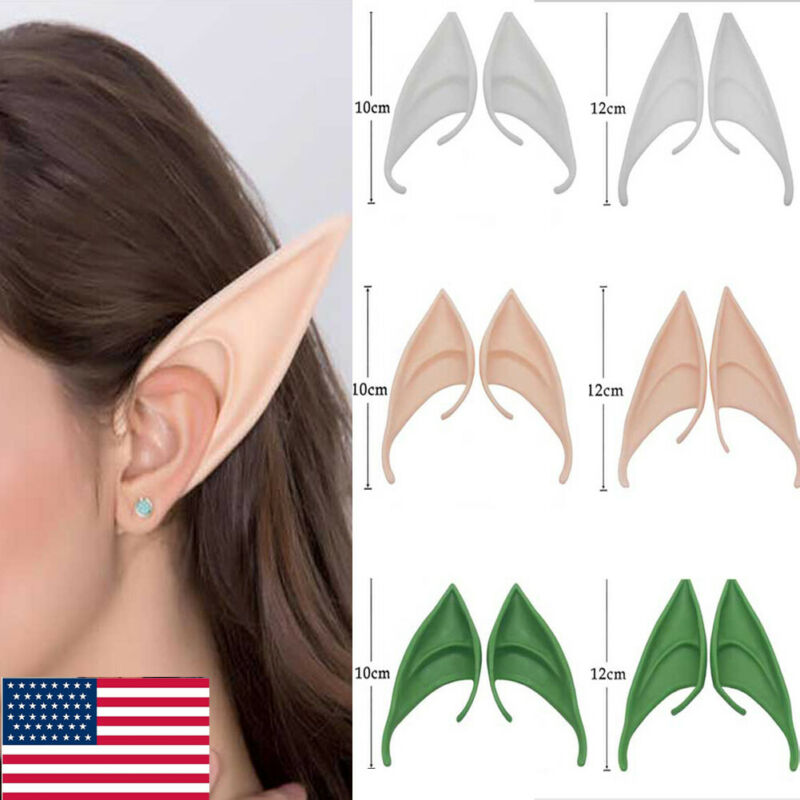 Mysterious Angel Elf Ears Fairy Cosplay Halloween Party Costume Latex Fake Ear (Color litte changed)