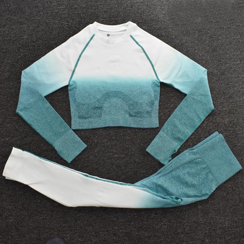 ShirtsPantsGreen - Women's Sportwear Seamless Fitness Gradient Yoga Set