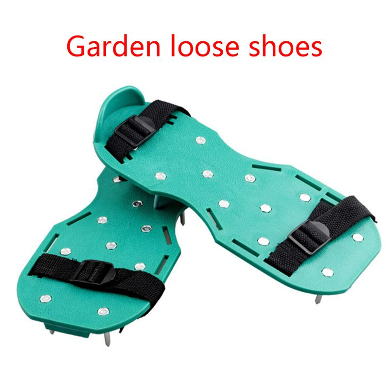Garden Lawn Care Heavy Duty Spiked Aerator Strap On Sandal Shoes Pair Fits All