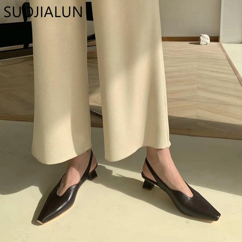 SUOJIALUN Women Sandals Brand Designer Pointed Toe Female Office Lady Slip On Mule Shoes Square Elegant Low Heel Sandal