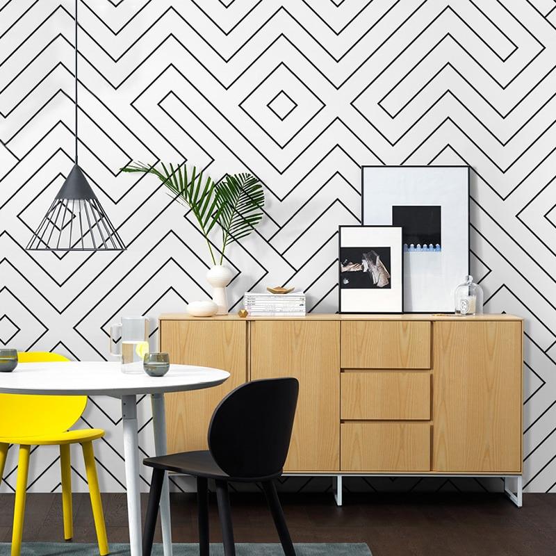 Nordic Ins Style Wallpaper Living Room Bedroom Modern 3D Geometric Black And White Lattice PVC Waterproof Vinyl Wall Paper Rolls