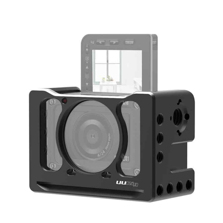 """Uurig C-RX0 Ii Camera Kooi Camera Vlog Beugel Met Koud Shoe Mount 1/4 """"Threads Voor Sony RX0 Ii Voor microfoon Mini Led Licht"""