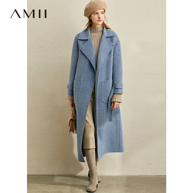 Amii Minimalist Winter Woolen Coat Fashion Women Solid Lapel Pockets With Belt Loose Elegant Female Woolen Jackets 11940636