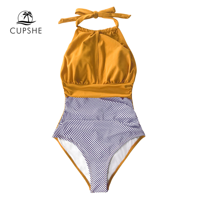 CUPSHE Textured and Striped Halter One-Piece Swimsuit Women Sexy Backless Cut Out Monokini 2020 Girl Beach Bathing Suit Swimwear 5