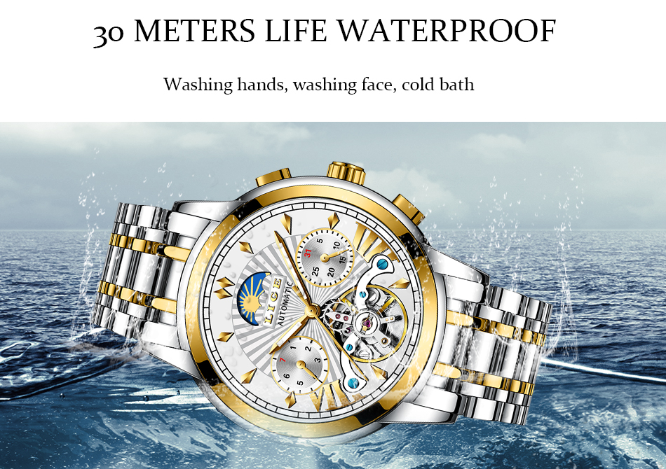 LIGE Official Store Mens Watches Top Brand Luxury Automatic Mechanical Business Clock Gold Watch Men Reloj Mecanico de Hombres H6e613e2406714e0aaf74a7d580033794U