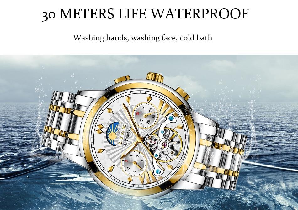 H6e613e2406714e0aaf74a7d580033794U LIGE Official Store Mens Watches Top Brand Luxury Automatic Mechanical Business Clock Gold Watch Men Reloj Mecanico de Hombres