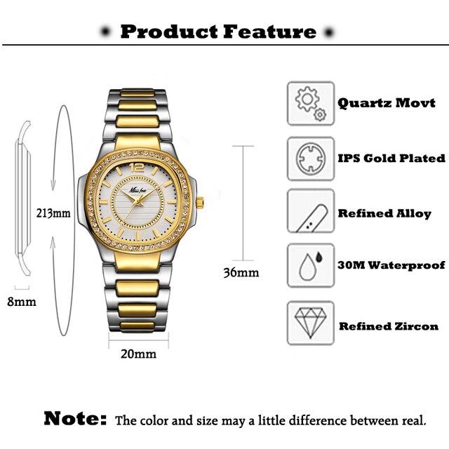 Geneva 2020-Reloj para mujer de lujo, cuarzo con diamantes, pulsera, dorado, cronógrafo femenino 2
