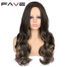 FAVE Ombre ארוך גלי מעורב הבהרה חום כהה צבע פאת 22 Inch סיבים עמידים בחום סינטטי שיער פאות שחור נשים