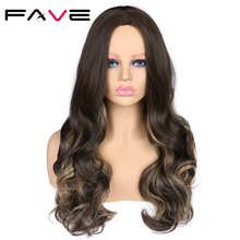 Yüz Ombre uzun dalgalı karışık vurgular koyu kahverengi renk peruk 22 inç ısıya dayanıklı iplik sentetik saç siyah kadınlar için peruk